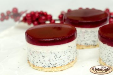 Пирожное мозайка: творожное суфле с маком и фруктовое желе