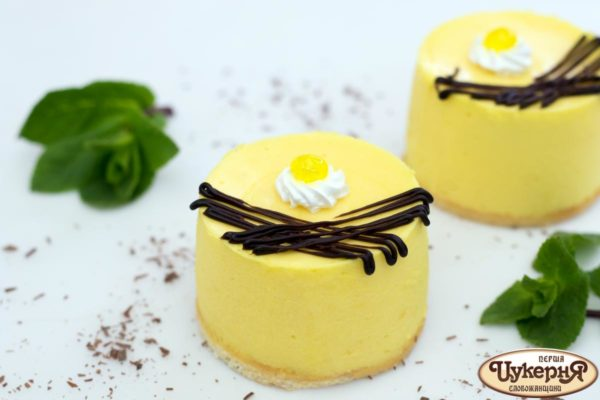 Лимонный творожный десерт