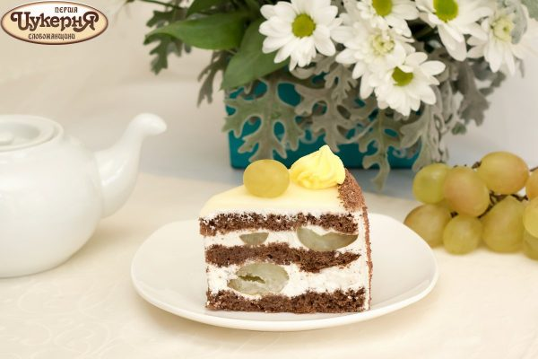 Шоколадный тортик с виноградом к чаю