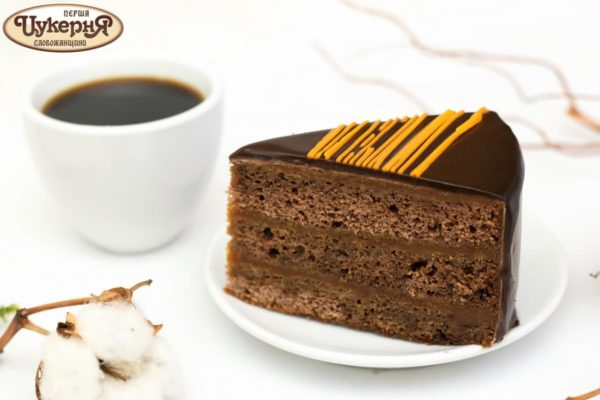 Кусочек шоколадного торта Захер и чашечка кофе